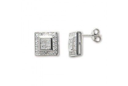 Sterling Silver Square Cubic Zirconia Stud Earrings